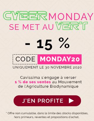 Cyber Monday - 15 % avec le code MONDAY20