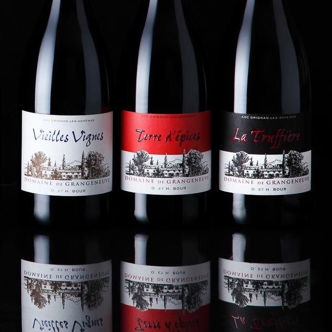 3 bouteilles de Grangeneuve rouges